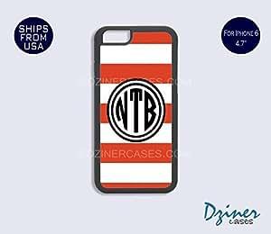 Monogram iPhone 6 Plus Case - Orange White Stripes Black Circle iPhone Cover