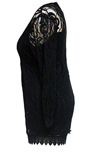 ZKESS Women's Plus Size Long Sleeve Lace Club Party Romper XXXXX-Large Size Black
