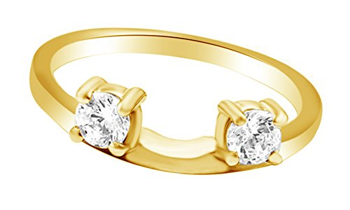 - White Natural Diamonds Gurad Wrap Enhancer Ring in14k Yellow Gold Over Sterling Silver (0.10 Cttw)