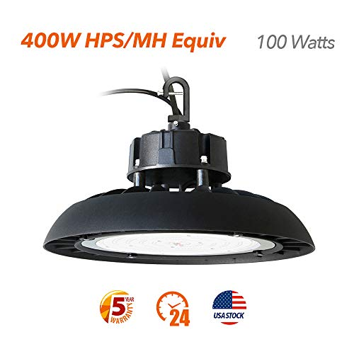 - UFO Led High Bay Lights 100W(400W HPS/MH/HID Equivalent) Warehouse Lighting Fixtures,3FT Wires with Plug, ETL/DLC Approved, 5000k, 5 Years Warranty (100)