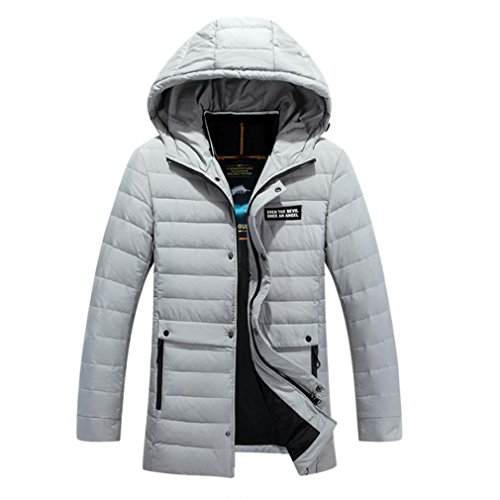 YANXH Winter The New Men Down jacket In the long Section Hooded Keep warm Coat , light grey , xl by YANXH outdoors