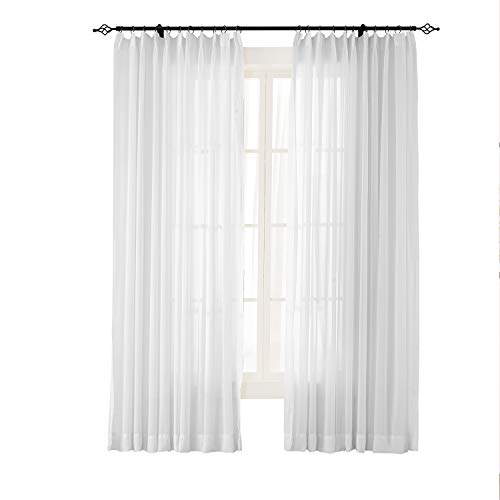 Panels Voile Pleated Pinch - Prim White Curtain Window Panel Sheer Curtain Pinch Pleated Curtain Bedroom Window Drapes Voile Sheer Panel for Living Room, 84x96 inch Long, 1 Panel