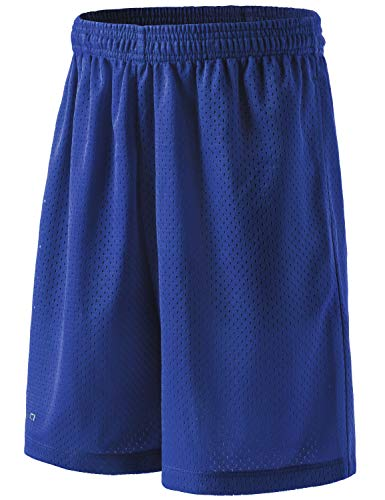 TSLA Boy's Active Shorts Sports Performance Youth HyperDri II w Pockets, Hyper Dri Mesh(kbh02) - Blue, Youth Medium