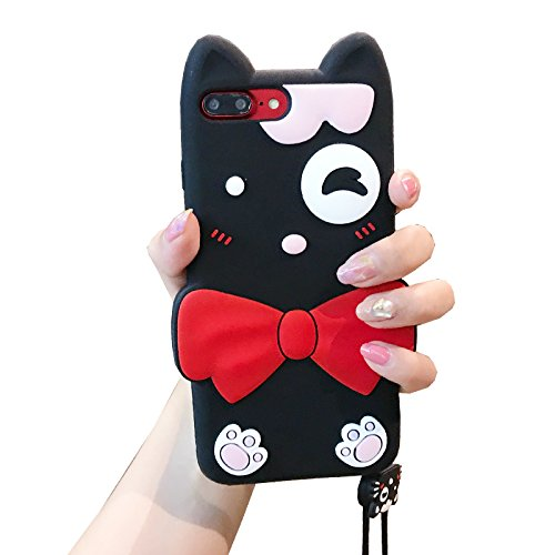 Red Bow Kitty Case with Strap for iPhone 7+ 7Plus 8Plus Large Size 5.5