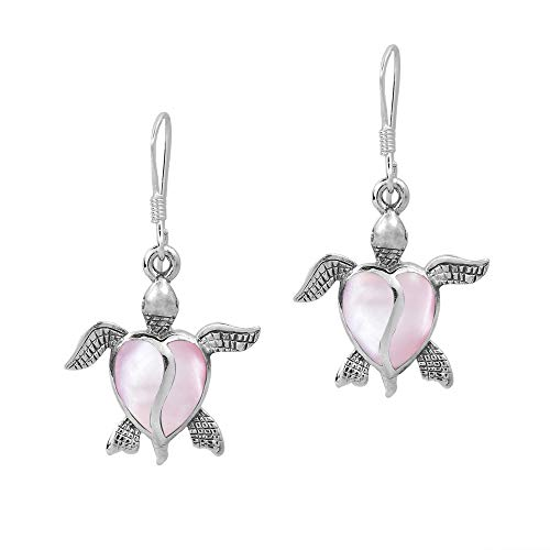(Love Life Sea Turtle Heart Pink Mother of Pearl .925 Sterling Silver Dangle)