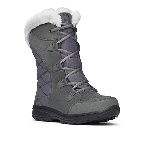 Columbia Women's ICE Maiden II Snow Boot, Shale, Dark Raspberry, 6.5 B US (Best Snow Socks Review)