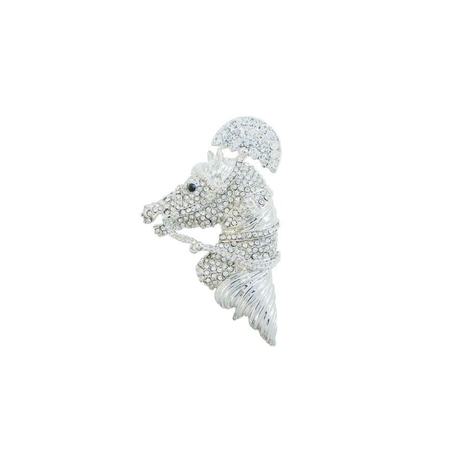 EVER FAITH Austrian Crystal Vintage Inspired Horse Steed Brooch Clear Silver Tone