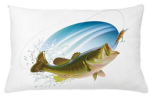 """Ambesonne Fishing Throw Pillow Cushion Cover, Largemouth Sea Bass Catching a Bite in Water Spray Motion Splashing Wild Image, Decorative Rectangle Accent Pillow Case, 26"""" X 16"""", Green Blue"""
