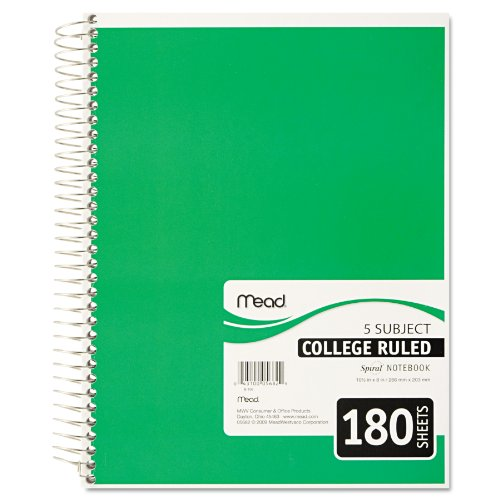 043100056829 - Mead Spiral Notebook, 5 Subject, College Ruled, 180 Sheets, 1 Notebook per Order, Assorted Colors - Color May Vary (05682) carousel main 0