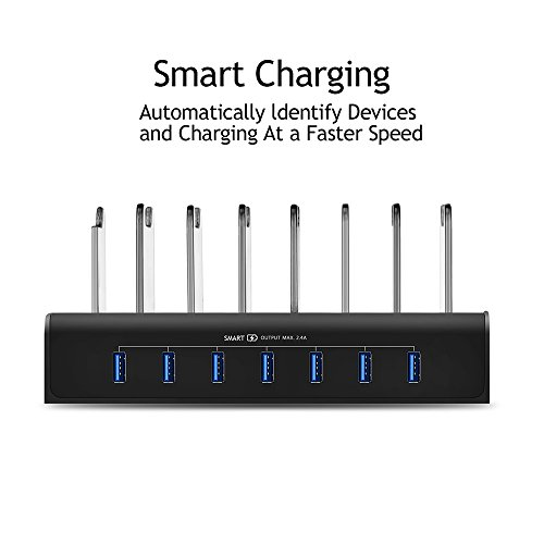 Kisreal USB Charging Station Smart 7-Port Desktop Charging Stand Organizer for iPhone, iPad, Tablets and Other USB-Charged Devices (7) by kisreal (Image #3)