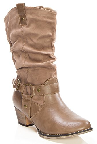 OLIVIA K Women's Western Style Wild Mid-Calf Cowgirl Boots