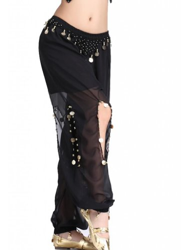 ZLTdream Women's Belly Dance Coins Lantern Pants Black one size