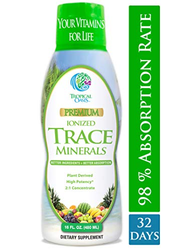 Tropical Oasis - Premium Ionized Plant Based Trace Minerals Liquid Formula- 74 essential minerals in liquid form for up to 96% Absorption - 16 oz
