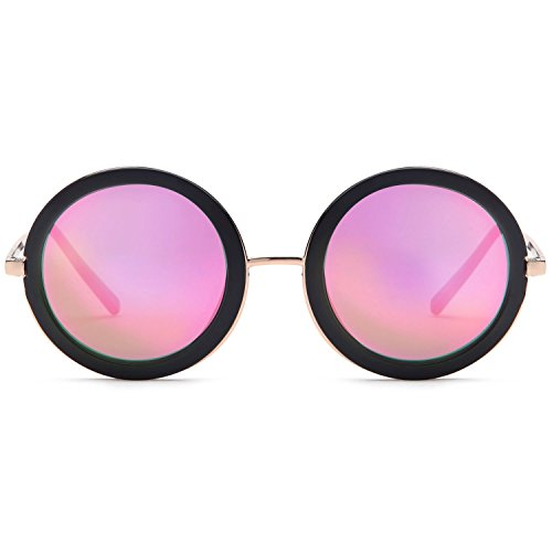 SUN LOUNGER UV400 Vintage Retro Round Style Sunglasses for Women Mirror Lens and Metal Frame with Spring Hinge – Mirror Pink Lens on Gold & Black - On Round Women Sunglasses
