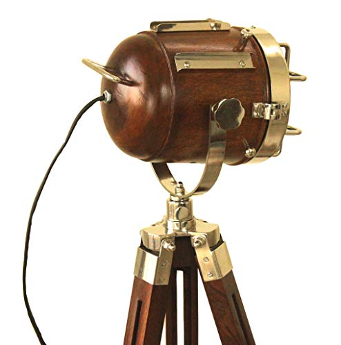 Vintage Searchlight Marine Nautical Look Spotlight Retro Brown Wooden Tripod Searchlight by Collectibles Buy (Image #4)
