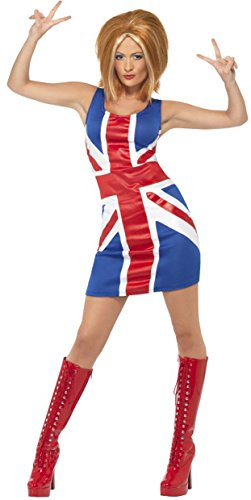 Smiffys Women's Ginger Power, 1990's Icon Costume, UK Jack Dress, Back to the 90's, Serious Fun, Size 10-12, 29450 -