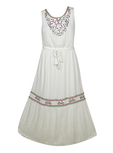 Plus Size White Flower Maxi Dress --Size: 1x Color: White