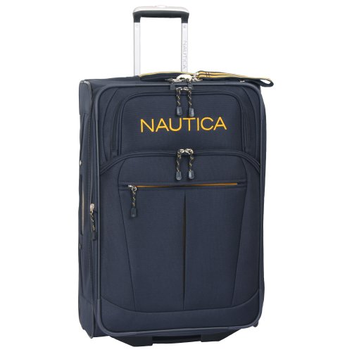 "Nautica 28"" Expandable Spinner Luggage, Navy/yellow"