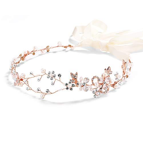 Mariell Rose Gold Freshwater Pearl and Crystal Bridal Ribbon Headband Hair Vine