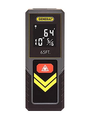 General Tools LDM2, 65' Compact Laser Measure With Continuous Measurement And Hi-Visibility White On Black Screen