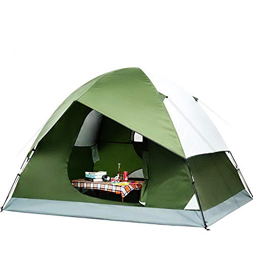 Camping Tent. 4 Person Family Instant Dome Canopy is Lightweight, Portable, Waterproof. Best Outdoor, Hiking, Backpacking, Beach, Fishing, Hunting, Travel, Trip Gear, Equipment