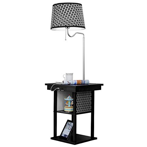 Costzon Floor Lamp, Swing Arm Lamp w/Shade Built in End Table Includes 2 USB Ports (Black Shade) -