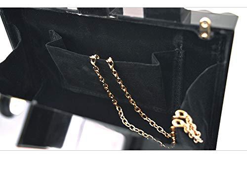Embrayage Black Carré Cristal Épaule Carré Cross section Femmes Paquet Dîner Acrylique Sac Chaîne FZHLY Bandoulière Motif Dur Mosaïque W1Tfwqxn
