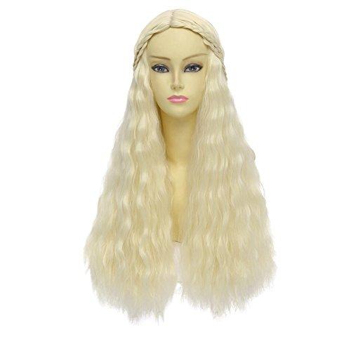 [Generic Long Wavy Hair Cosplay and Custom Wig, Blonde/Platinum Blonde] (Daenerys Targaryen Costume Hair)