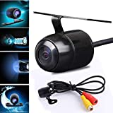 Glumes Mini Backup Camera, 170° Viewing Angle 4 IR LED Night Vision Multi-Function Car Reversing Rear View/Side View/Front View & Security Pinhole Spy Camera (Black)