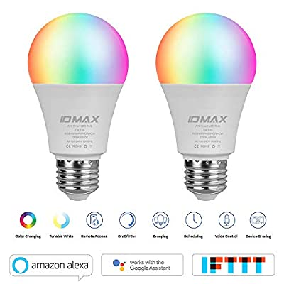LED Smart Bulb, ID MAX A19 LED Lights E26 7W WiFi Light Bulbs 2700K to 6500K Dimmable Color Changing Bulb, No Hub Required, Works with Amazon Echo Alexa Google Home and IFTTT, 60W Equivalent (2 Pack)