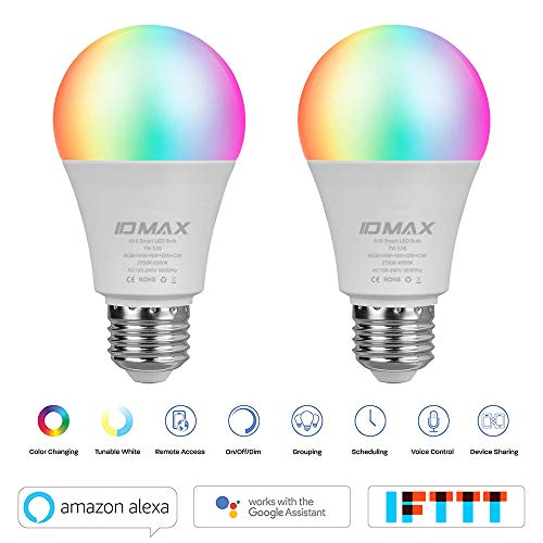 (LED Smart Bulb, ID MAX A19 LED Lights E26 7W WiFi Light Bulbs 2700K to 6500K Dimmable Color Changing Bulb, No Hub Required, Works with Amazon Echo Alexa Google Home and IFTTT, 60W Equivalent (2 Pack))