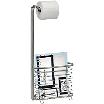 Toilet Paper Holder With Magazine Rack Amazoncom mDesign Free Standing Toilet Paper Holder with 26