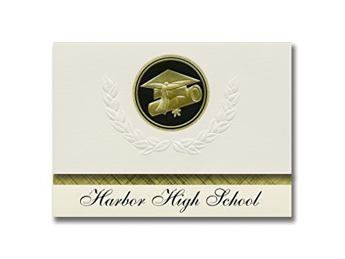 (Signature Announcements Harbor High School (Aberdeen, WA) Graduation Announcements, Presidential style, Basic package of 25 Cap & Diploma Seal. Black & Gold.)