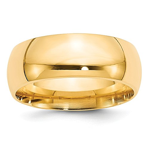 14k Yellow Gold 8mm Comfort-Fit Band by Saris and Things