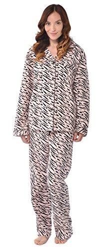 (Leisureland Women's Cotton Flannel Pajama Set Zebra Print (X-Large, Pink With Black))