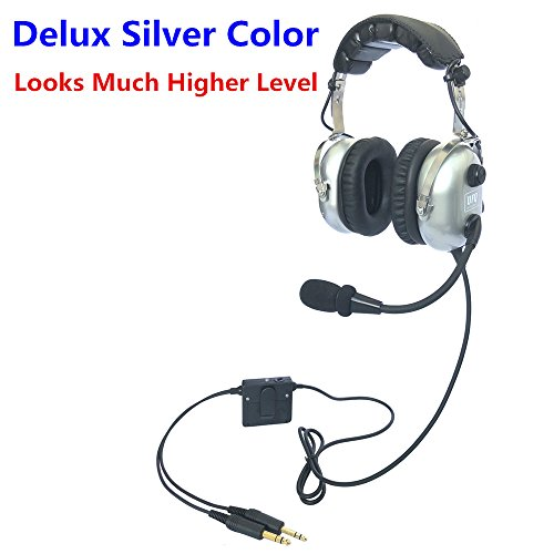 (UFQ A28 Delux Silver Color Great ANR Aviation Headset Active Noise Reduction-Compare with Rugged Air RA950 BUT UFQ A28 with Mp3 Input Bose Grade Hi-Fi Sound for Music and Free with a Headset Bag)