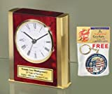 Personalized Engraved Wood Desk Clock Twin Gold Brass Sides Wood Retirement Gift Employee Service Award Anniversary Birthday Employee Recognition Service Award Employee Appreciationa Boss Coworker