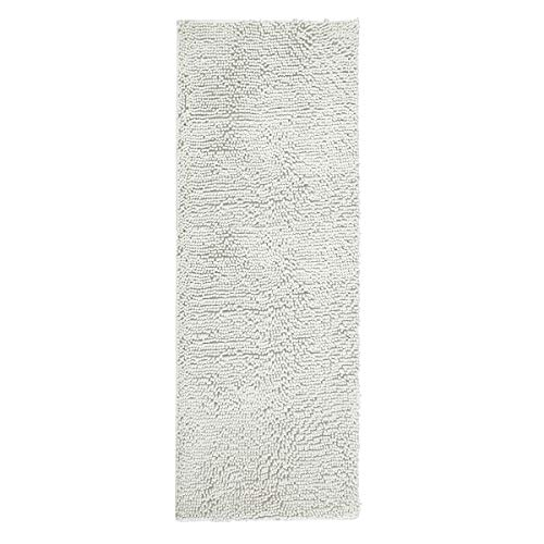 ITSOFT Non Slip Shaggy Chenille Soft Microfibers Bathroom Rug with Water Absorbent, Machine Washable, 21 x 59 Inches Light Gray (Runner Bathroom)
