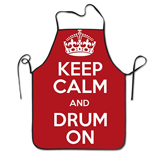 NiYoung Kitchen Apron Bib Aprons Women Men Professional Chef Aprons with Extra Long Ties - Keep Calm and Drum On Red, Waterdrop Resistant Waiter Hostess Apron for Kitchen Cafe Bar