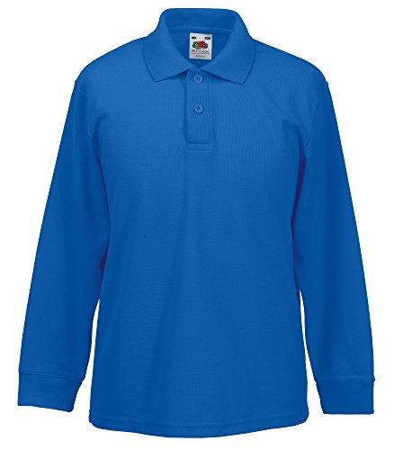 Fruit of the Loom Kid's Long Sleeved 65/35 Polo Shirt Azul