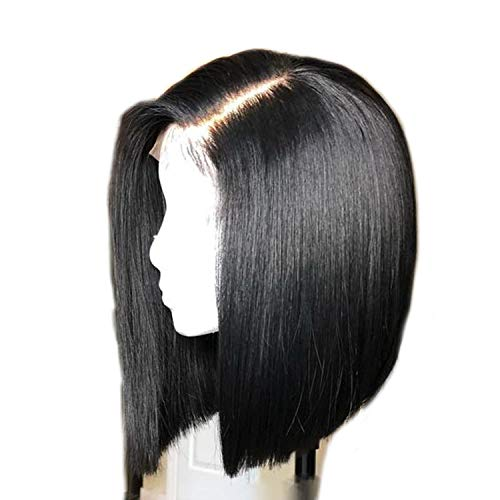 Short Full Lace Human Hair Wigs Straight Pre Plucked Bleached Knots Bob Wigs For Black Women -