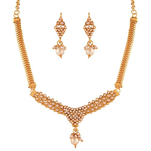 Variation White Pearl Fashion Gold Plated Necklace Set For Women - VD15380
