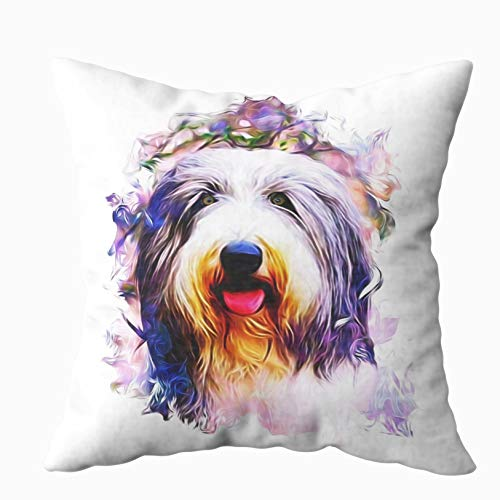 (TOMWISH Hidden Zippered Pillowcase Halloween Bearded Collies 18X18Inch,Decorative Throw Custom Cotton Pillow Case Cushion Cover for Home Sofas,bedrooms,Offices,and)