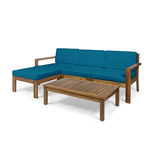 Great Deal Furniture Makayla Ana Outdoor 3 Seater Acacia Wood Sofa Sectional with Cushions, Teak and Dark Teal