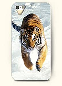 OOFIT phone case design with Tiger Running in the Snowfield for Apple iPhone 4 4s