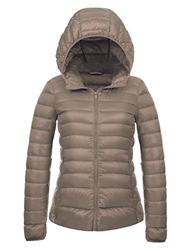 CHERRY CHICK Women's Packable Down Jacket with Hood Medium Light Brown