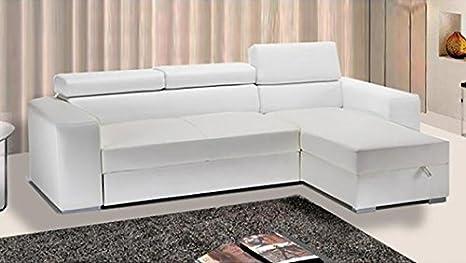 Divano Letto Bianco Ecopelle : Frizzo divano letto angolare ecopelle bianco vano contenitore