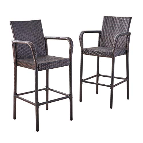 Christopher Knight Home 295946 Stewart Outdoor Bar Stool, Set of 2 Brown (Stools Bar Patio)