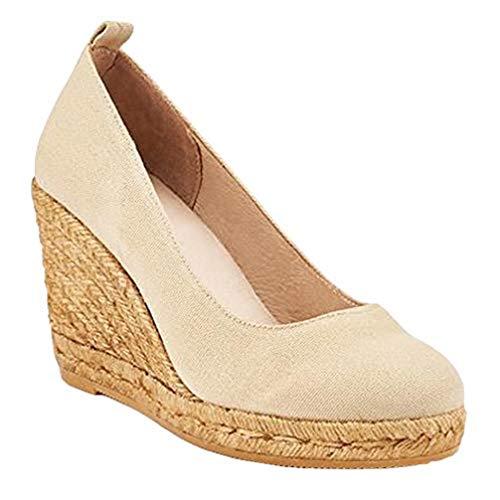 (Seraih Womens Close Toe Espadrille Wedge Heel Sandals Fashion Summer Sandal Shoes (8 B(M) US/39 M EU, Beige))