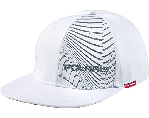 Polaris White & Gray Flat Billed Isobar Fitted Baseball Cap Hat Size Small / Medium (Polaris Baseball Hat)